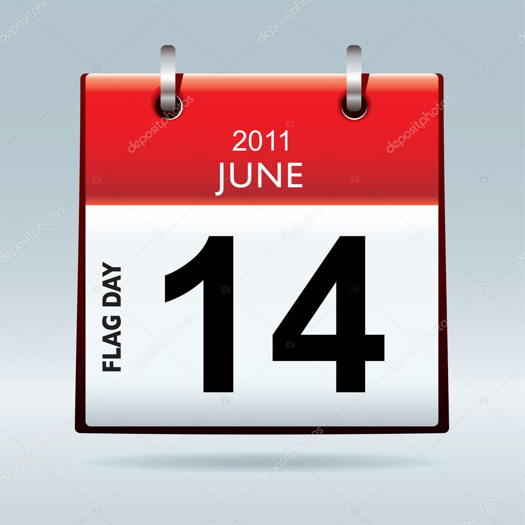 Red top flag icon symbol with flag day date and blue background — Stock vektor #5013437