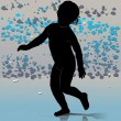 Running silhouette of the small child — Imagen vectorial