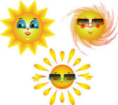 Amusing images of the sun — Stock Vector
