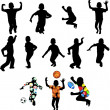 Silhouettes of children in movement — Vettoriali Stock