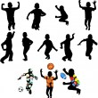 Silhouettes of children in movement — Stock vektor
