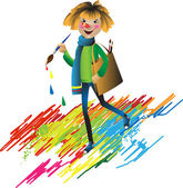 The cheerful little man - the Pencil — Stock Vector