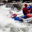 图库照片: Group in out of control white water raft