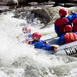 Group in out of control white water raft - Stock Photo