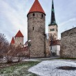 Four towers of town wall of Tallinn - Stock Photo