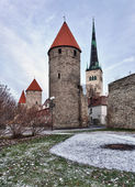 Four towers of town wall of Tallinn — Stock Photo