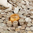 Bag of silver and gold coins — Stock Photo #4329228