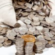 Bag of silver and gold coins — Stock Photo #4329246