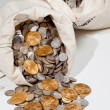 Bag of silver and gold coins — Stock Photo