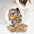 Bag of silver and gold coins — Stock Photo #4329293