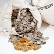 Stock Photo: Bag of silver and gold coins