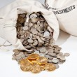 图库照片: Bag of silver and gold coins