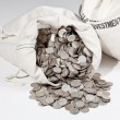 Bag of silver coins — 图库照片 #4329312