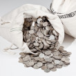 图库照片: Bag of silver coins