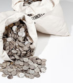 Bag of silver coins — Stock Photo