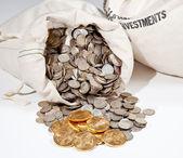 Påse med silver- och guldmynt — Stockfoto