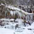 Weeping wall in Smoky Mountains covered in ice - Stock Photo
