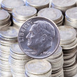 Nineteen sixty four silver Roosevelt dime coins — Stock Photo
