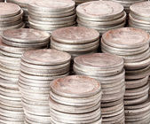 Stacks of pure silver coins — Stock Photo