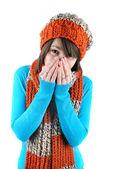 Kýchací žena — Stock fotografie