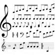 signos musicales. Notas — Vector de stock