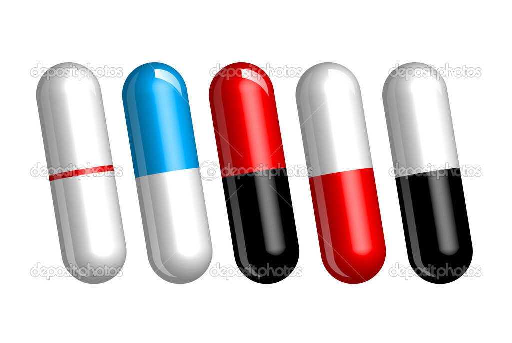 Set of color pills or capsules on white  Stock Photo #4279509