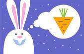 Rabbit dreams of carrot — Stock Vector