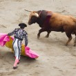 Bull and bullfighter — Stock Photo