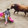 Bull and bullfighter — Stock Photo
