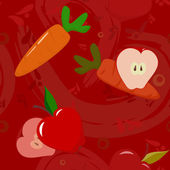 Apples and carrots on dark-red background — Stockvector
