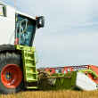Close-up harvesting combine — Stock Photo