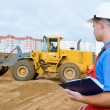 Builder inspector at construction area - Stock Photo