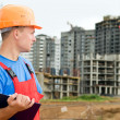 Builder inspector at construction area — Stock Photo