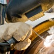 Close-up welder at work — Stock Photo