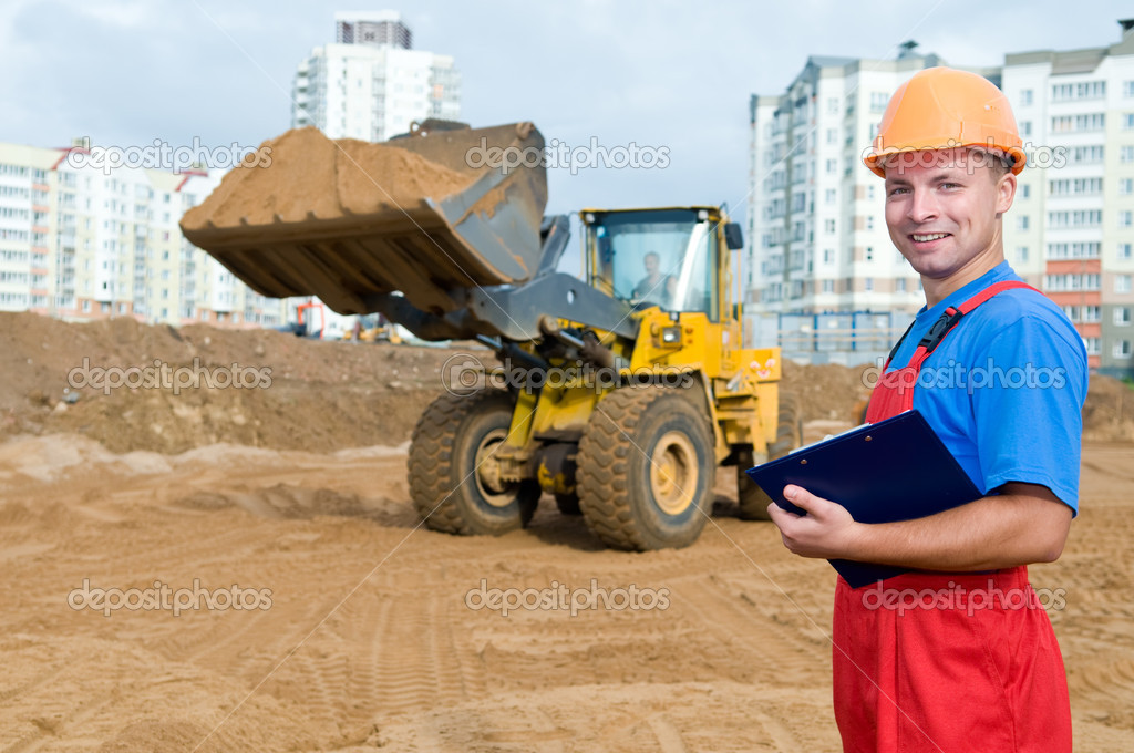 One builder worker with clipboard inspecting earthmoving works at construction site — Stock Photo #5366053