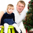 Dad and little girl at Cristmas time. — Stock Photo