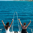 Two women on yacht on stern — Stock Photo #4515836