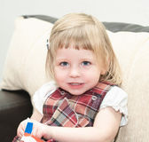 Portriat of little girl in domestic life. — Stock Photo