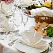 Wedding white reception place ready for guests — Stock Photo