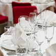 Stock Photo: Wedding white table appointments ready for guests