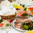 Stock Photo: Elegant banquet and dinner tables prepared for holiday or party.
