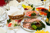 Elegant banquet and dinner tables prepared for a holiday or a party. — Stock Photo
