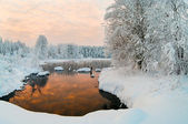 Unfrozen lake in the winter forests — Stock Photo