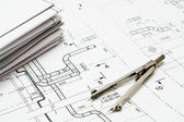 Design and working blueprints — Stock Photo