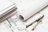 Diseño y planos de trabajo — Foto de Stock