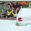 Car under snow - Stock Photo