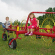 Children sitting on Yellow and red haymaker — Stock Photo #4588235