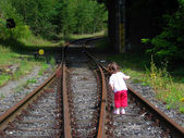 Girl at Railroad tracks — Stock Photo