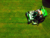 Top view of man on grass-cutter — Stock Photo