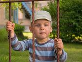 The boy behind a lattice — Stock Photo